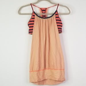 Lululemon Coral peach navy work out tank top